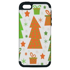 Christmas design - green and orange Apple iPhone 5 Hardshell Case (PC+Silicone)
