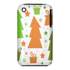Christmas design - green and orange Apple iPhone 3G/3GS Hardshell Case (PC+Silicone)