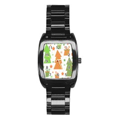 Christmas design - green and orange Stainless Steel Barrel Watch