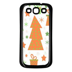 Christmas design - green and orange Samsung Galaxy S3 Back Case (Black)