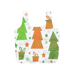 Christmas design - green and orange Full Print Recycle Bags (S)