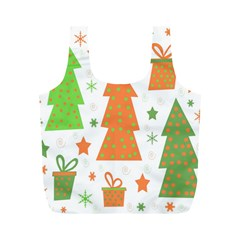 Christmas design - green and orange Full Print Recycle Bags (M)