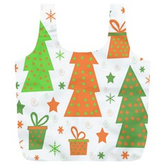 Christmas design - green and orange Full Print Recycle Bags (L)