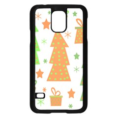 Christmas design - green and orange Samsung Galaxy S5 Case (Black)