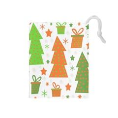 Christmas design - green and orange Drawstring Pouches (Medium)