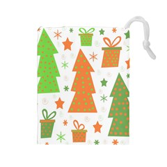Christmas design - green and orange Drawstring Pouches (Large)