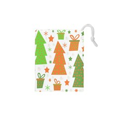 Christmas design - green and orange Drawstring Pouches (XS)