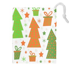 Christmas design - green and orange Drawstring Pouches (XXL)