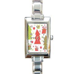 Christmas design - green and red Rectangle Italian Charm Watch