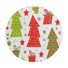 Christmas design - green and red Ornament (Round)