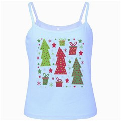 Christmas design - green and red Baby Blue Spaghetti Tank
