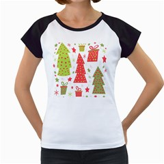 Christmas design - green and red Women s Cap Sleeve T