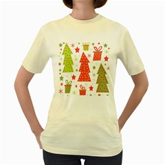Christmas design - green and red Women s Yellow T-Shirt
