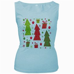 Christmas design - green and red Women s Baby Blue Tank Top