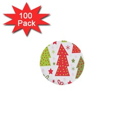 Christmas design - green and red 1  Mini Buttons (100 pack)