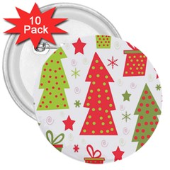 Christmas design - green and red 3  Buttons (10 pack)