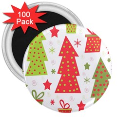 Christmas design - green and red 3  Magnets (100 pack)