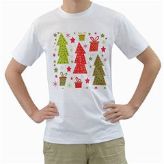 Christmas design - green and red Men s T-Shirt (White) (Two Sided)
