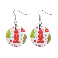 Christmas design - green and red Mini Button Earrings