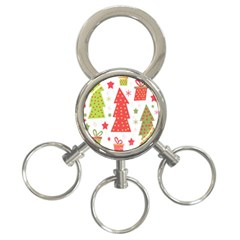 Christmas design - green and red 3-Ring Key Chains