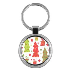 Christmas design - green and red Key Chains (Round)