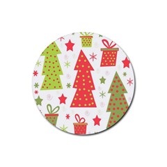 Christmas design - green and red Rubber Round Coaster (4 pack)