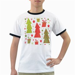 Christmas design - green and red Ringer T-Shirts