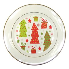 Christmas design - green and red Porcelain Plates