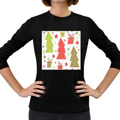 Christmas design - green and red Women s Long Sleeve Dark T-Shirts