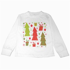 Christmas design - green and red Kids Long Sleeve T-Shirts
