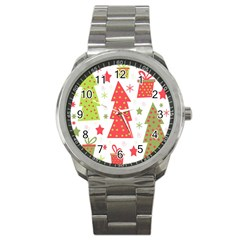 Christmas design - green and red Sport Metal Watch
