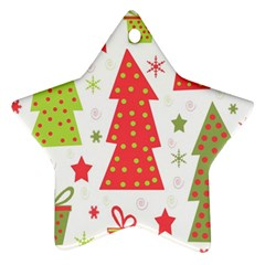 Christmas design - green and red Star Ornament (Two Sides)