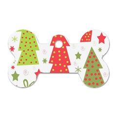 Christmas design - green and red Dog Tag Bone (One Side)