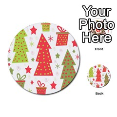 Christmas design - green and red Multi-purpose Cards (Round)