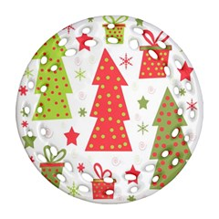 Christmas Design   Green And Red Round Filigree Ornament (2side)