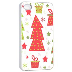 Christmas design - green and red Apple iPhone 4/4s Seamless Case (White)