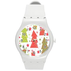 Christmas design - green and red Round Plastic Sport Watch (M)