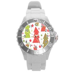 Christmas design - green and red Round Plastic Sport Watch (L)