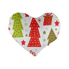 Christmas design - green and red Standard 16  Premium Heart Shape Cushions