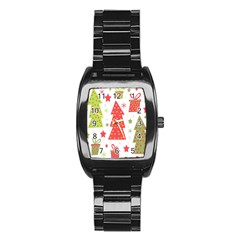 Christmas design - green and red Stainless Steel Barrel Watch