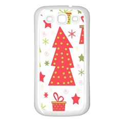 Christmas design - green and red Samsung Galaxy S3 Back Case (White)