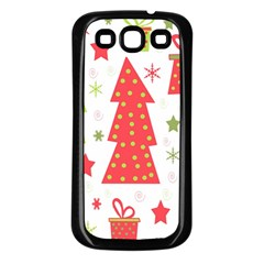 Christmas design - green and red Samsung Galaxy S3 Back Case (Black)