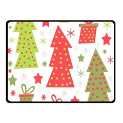 Christmas design - green and red Double Sided Fleece Blanket (Small)