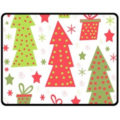 Christmas design - green and red Double Sided Fleece Blanket (Medium)