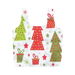 Christmas design - green and red Full Print Recycle Bags (M)