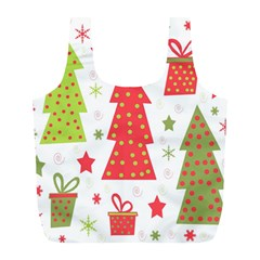 Christmas design - green and red Full Print Recycle Bags (L)
