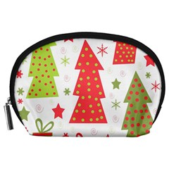 Christmas design - green and red Accessory Pouches (Large)