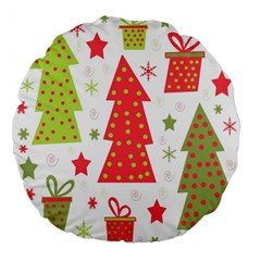 Christmas design - green and red Large 18  Premium Flano Round Cushions