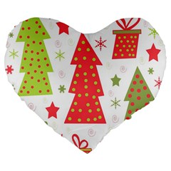 Christmas design - green and red Large 19  Premium Flano Heart Shape Cushions