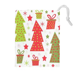 Christmas design - green and red Drawstring Pouches (Extra Large)